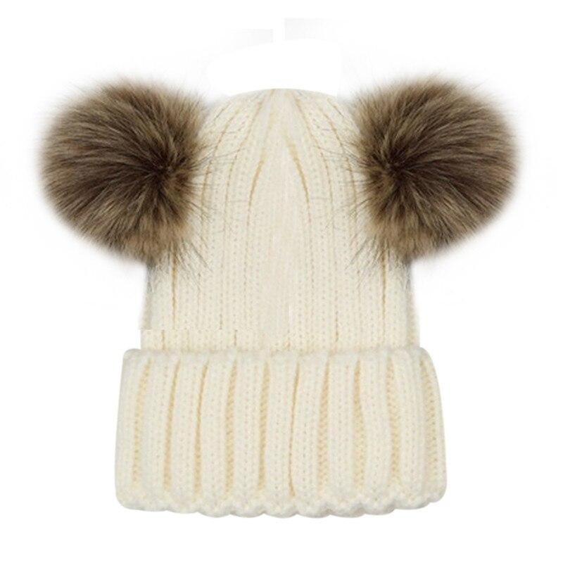 0426e608c Lovely Faux Fur Women Bonnet Hat Winter Double Pom Pom Chunky Bean...