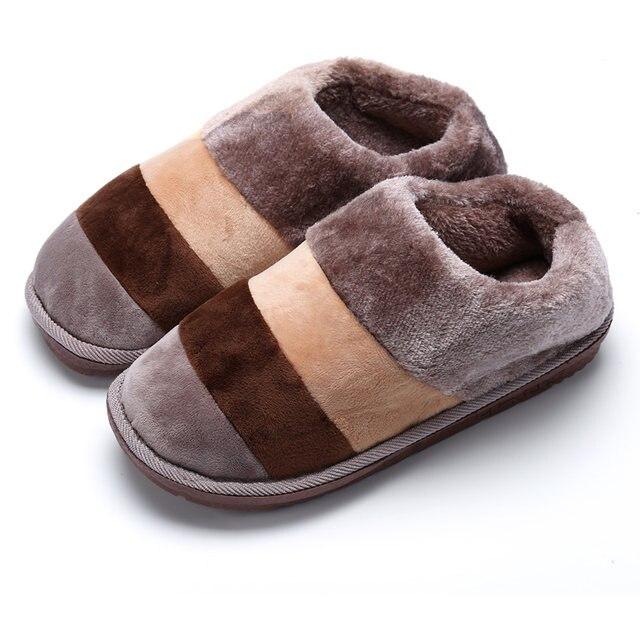 Online Shop POOLOOP Casual Men Indoor Slippers Winter Warm Snow ...