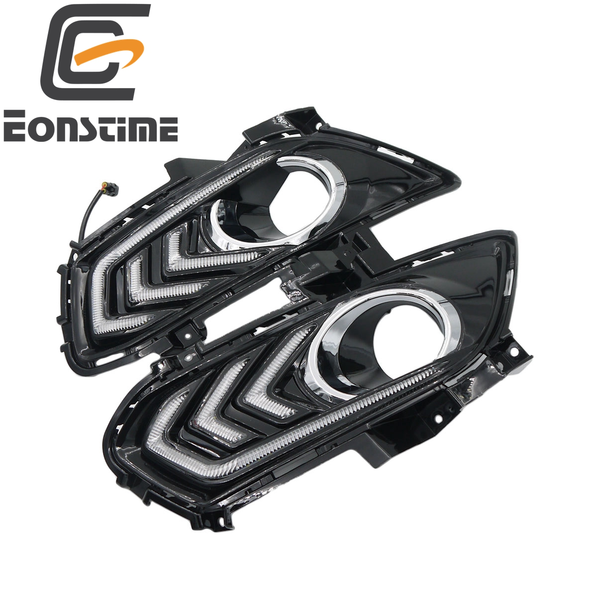 Eonstime set 12V Car DRL LED Daytime Running Light Fog lights For Ford Mondeo Fusion 2013 2014 2015 2016 Signal light Styling eonstime 2pcs 12v car drl led daytime running light fog lights for ford mondeo fusion 2013 2014 2015 2016 car styling
