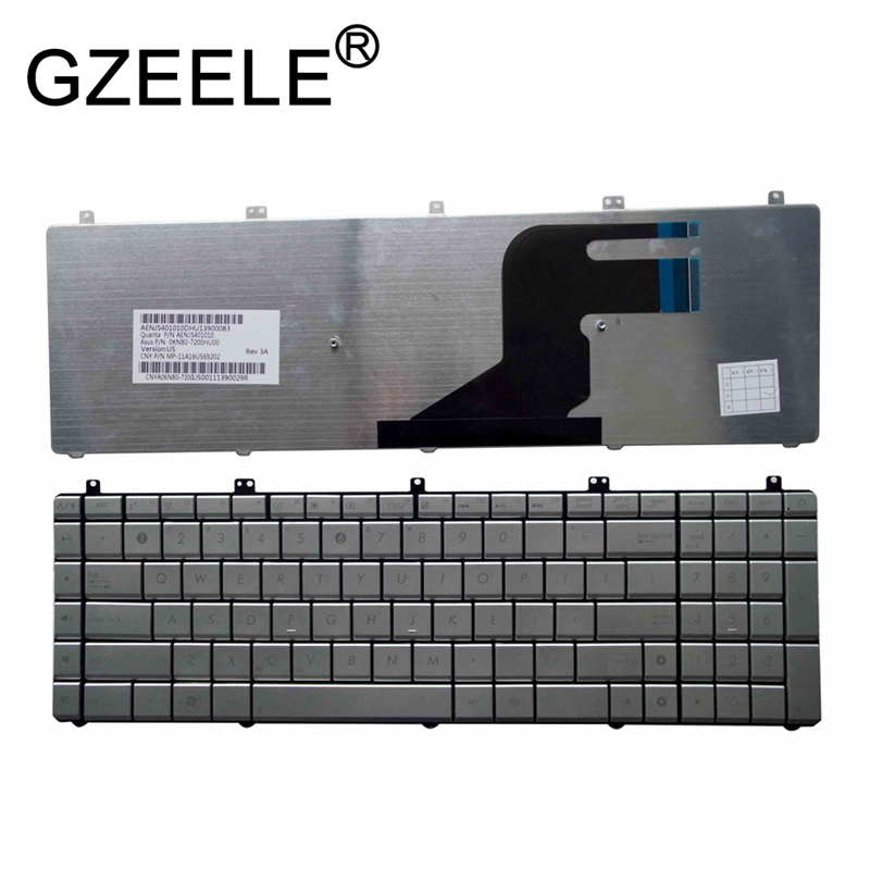GZEELE NEW US Layout Silver English Laptop <font><b>Keyboard</b></font> for <font><b>Asus</b></font> series N55 N55SL N55SF N75 N75SF N75SF N75SL N75S N75Y N55SF image