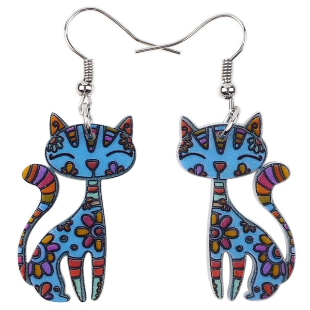 Cartoon Floral Printed Cat Earrings