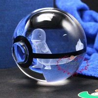 New Design 3D laser Engraving Crystal Ball with Pokemon Go Charmander as Birthday Gifts
