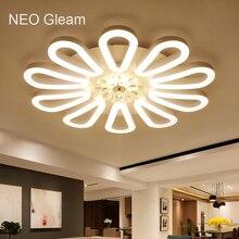 NEO Brillo montado en Superficie de techo llevada moderna luces de la sala de estar Dormitorio Blanco lustre luminaria plafón Lámpara de Techo De Casa