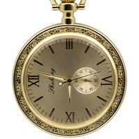 Luxury Open Face Train Big Dial Roman Numers Mechanical Skeleton Pocket Watch Steampunk Hand Winding Watch Men Women PJX1390