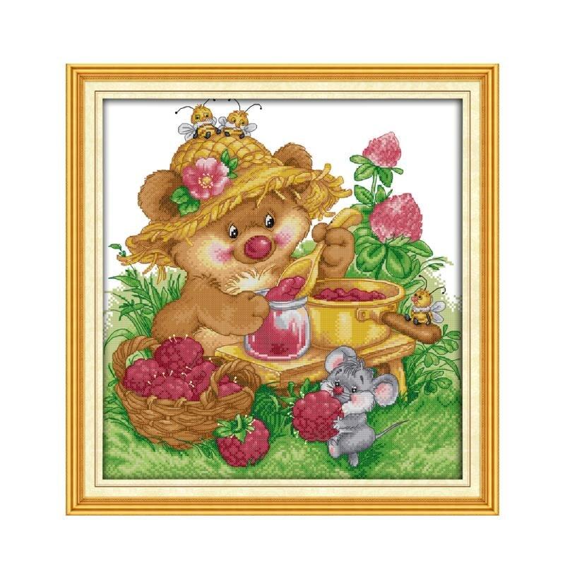 Радость воскресенье животных маленькая крыса делает Варенье 11CT 14CT Кол вышивки кресто ...