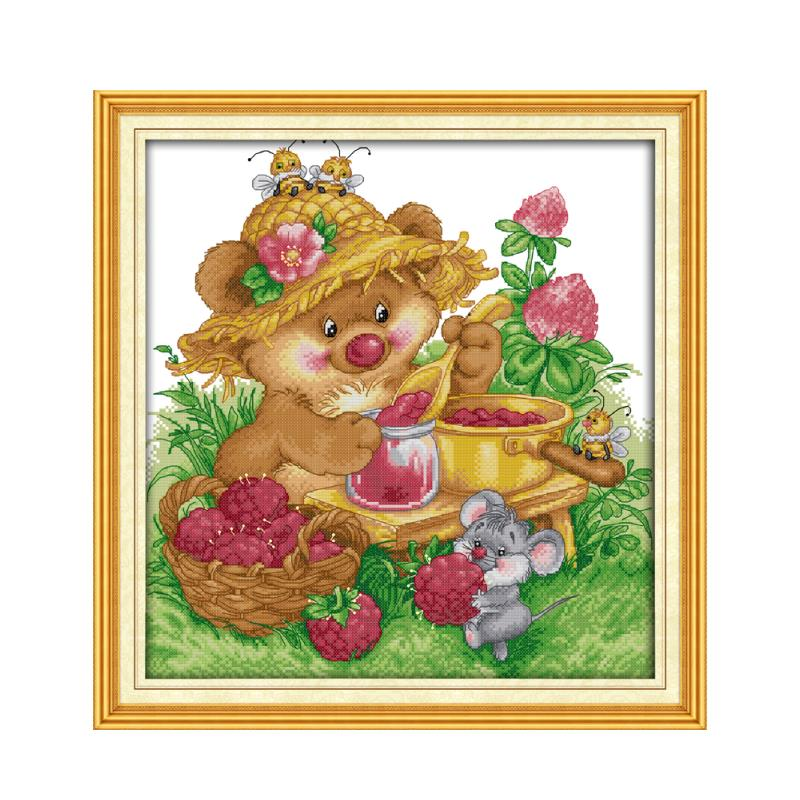 Joy Sunday Animal Little Rat Does Jam 11CT 14CT Count Cross Stitch Suite Rural Scene dmc Embroidery Sewing Decorative Painting