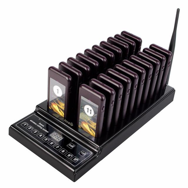 999 Canais Sem Fio Restaurante Sistema de Fila de Paginação de Hóspedes com 1 Transmissor + 20 Exigível Pagers F9402A