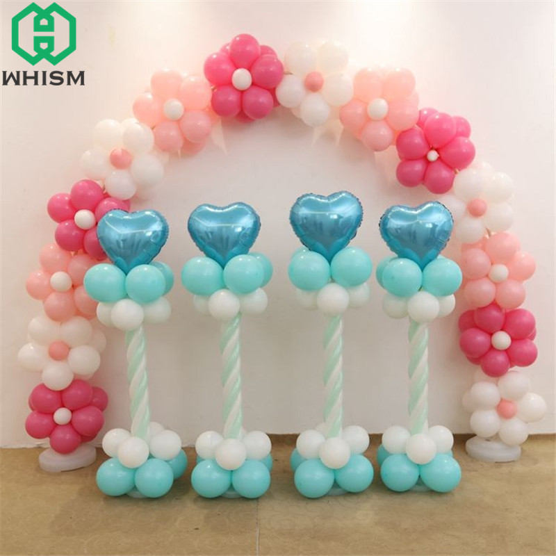 WHISM Plastic Balloon Column Stands Base Balloons Arch Pole Baloon Sticks Kit Balloon Display Tower Set Wedding Party Supplies
