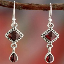 Jewelry Earrings Boho Dangle Silver-Color Vintage Indian Women Ethnic O5M066 Stone Onyx