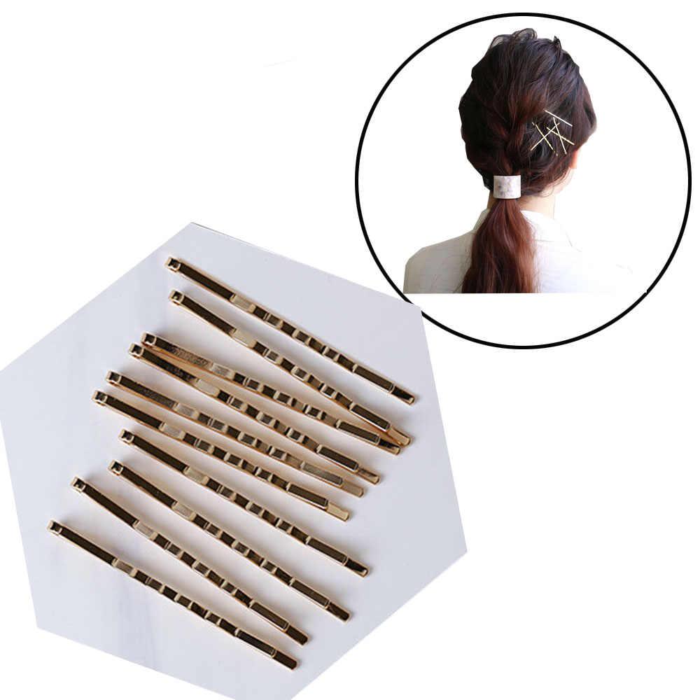 10Pcs Rambut Klip Jepit Rambut Logam Emas Melambaikan Keriting Jepit Bobby Pin untuk Wanita Wanita Styling Aksesoris Rambut Styling Alat