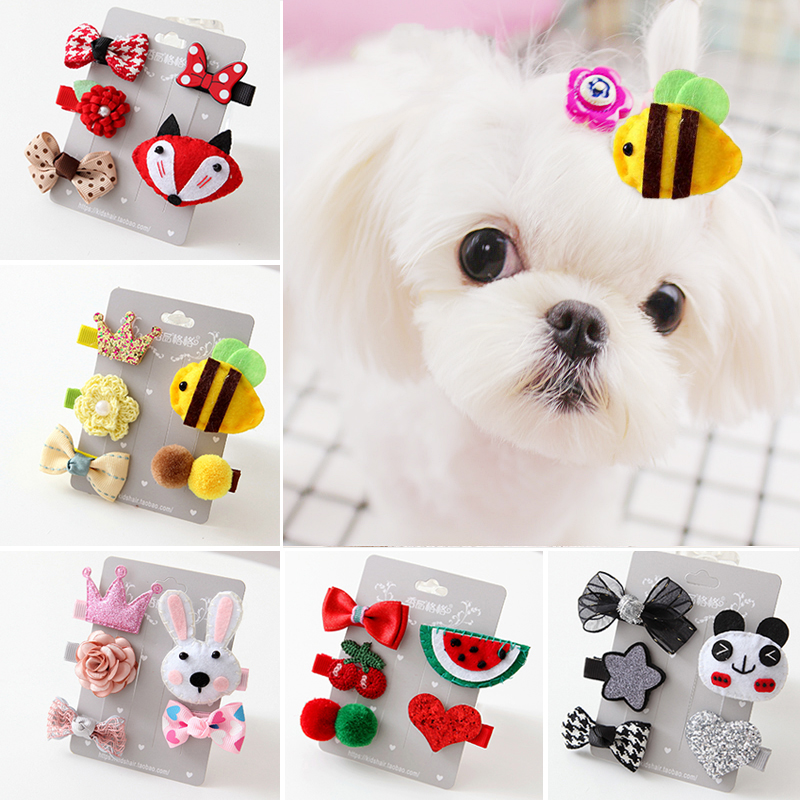 Cute font b Pet b font Puppies Hairpin Set Cartoon Bows Hair Clips For Dogs Little