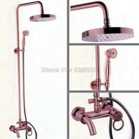 Bathroom Wall Mounted Antique Red Copper Rain Shower Faucet Set Hold Shower Single Lever Handle Bath