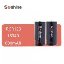 2 pces soshine lifepo4 rcr123 16340 600mah 3v bateria recarregável com pwb protegido para lanternas led faróis