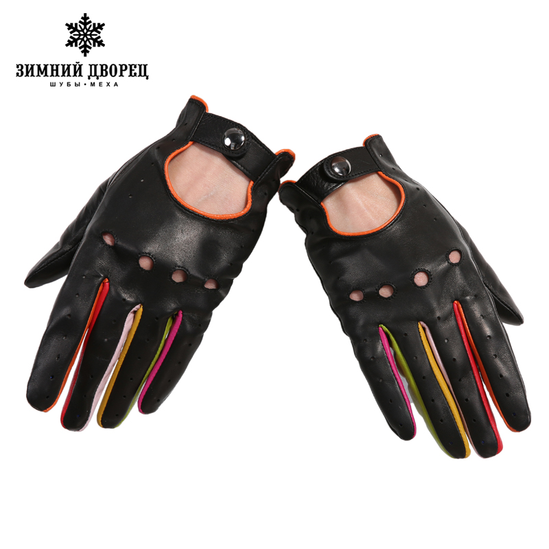 7b580b7eb Women's Winter Genuine Leather Gloves 2017 New Fashion Brand Ladies Black  Unlined Driving Gloves Goatskin Mittens WINTER PALACE-in Women's Gloves  from ...