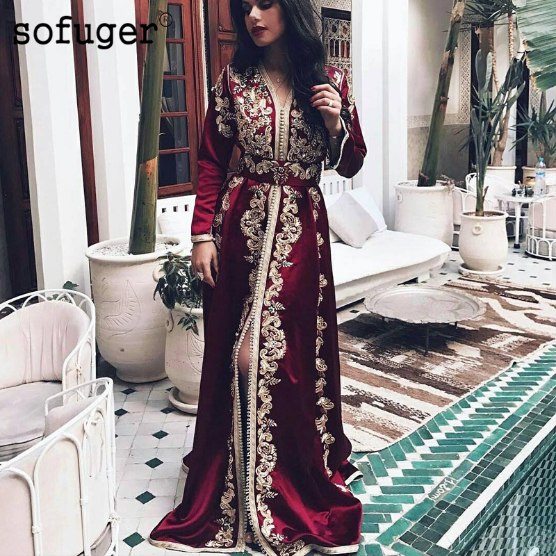 Burgundy Dubai Evening Dresses Golden Moroccan Kaftan Lace Appliques Belt Saudi Arabic Muslim Special Occasion Party Plus Size
