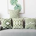 Домашний декор  наволочка с вышивкой  зеленый геометрический холст  хлопок  наволочка с вышивкой 45х45см