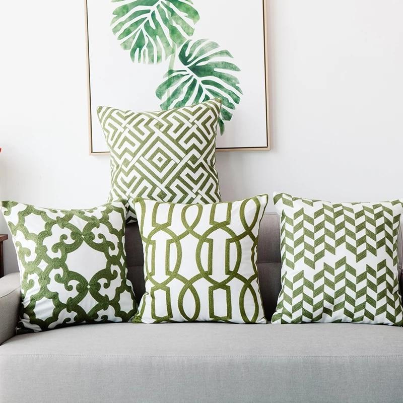 Home Decor Emboridered Cushion Cover Green Geometric Canvas Cotton Suqare Embroidery Pillow Cover 45x45cm