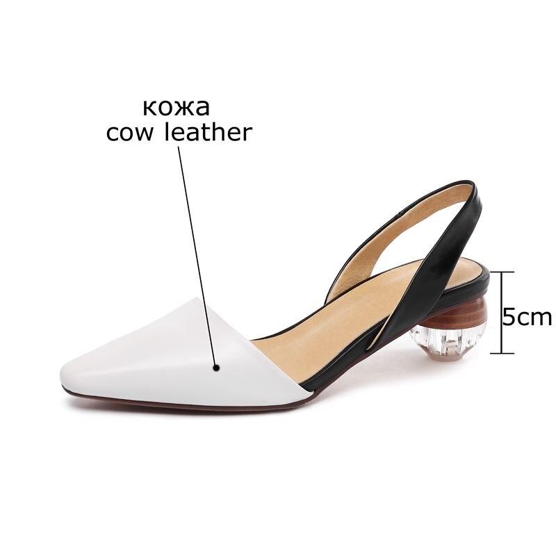 ALLBITEFO gorąca sprzedaż prawdziwej skóry kwadratowych toe wysokie obcasy damskie buty letnie kobiety sandały party damskie buty dziewczyny sandały w Średni obcas od Buty na  Grupa 2