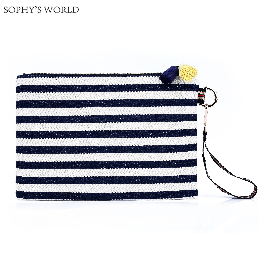 1d8db166748a korea style canvas women handbags stripe women day clutches purse bolsas  tassels ladies Bag designer clutch envelope bag-in Clutches from Luggage &  ...