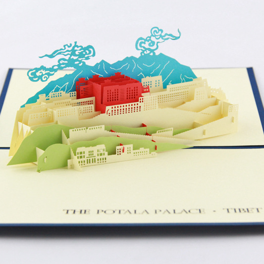 Cube life original 3D greeting card Tibet Potala Palace creative travel card