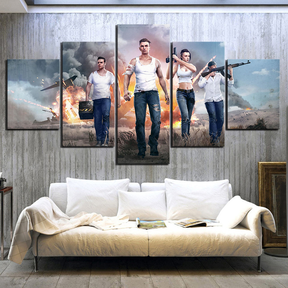 5 Piece Video Games Free Fire Poster Wall Sticker Garena Free Fire Pictures Free Fire Battlegrounds Canvas Paintings Wall Art Painting Calligraphy Aliexpress
