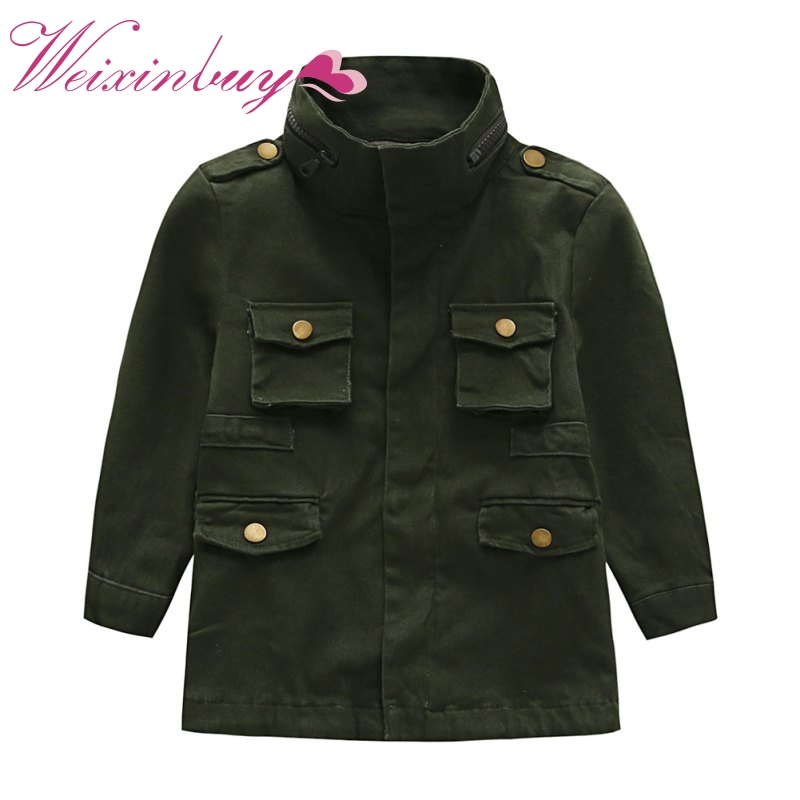 2017 Baby Children Kids Military Jacket Kids Boy Outerwear Canvas Utility Jacket