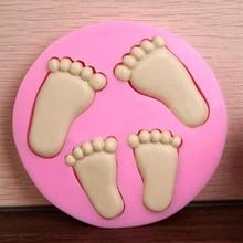 Детская розовая силиконовая 3d форма для ног, силиконовая форма для украшения торта, форма для помадки, симпатичные детские формы для ног, инструменты для выпечки, рукоделие