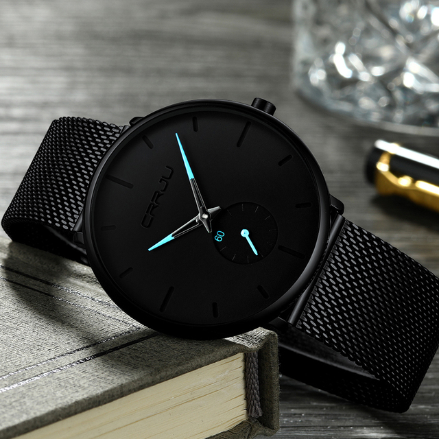 CRRJU Fashion Mens Watches Top Brand Luxury Quartz Watch Men Casual Slim Mesh Steel Waterproof Sport Watch Relogio Masculino 4