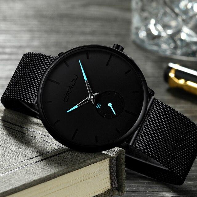 CRRJU mody męskie zegarki Top marka luksusowy zegarek kwarcowy mężczyźni na co dzień Slim, z siatką ze stali nierdzewnej wodoodporny zegarek sportowy Relogio Masculino
