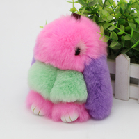 Fur Bunny Keychain Pendant Rex Rabbit S Hair Bag Trinket Charm Key Ring Chain Jewelry Exceed