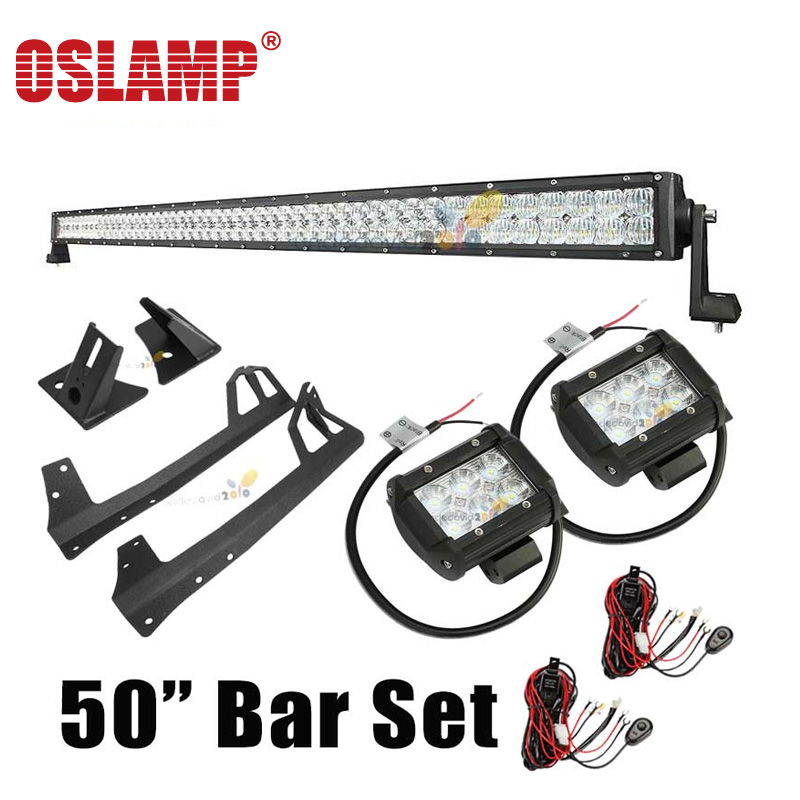Oslamp 5D Spot Flood Combo Beam Roof LED Light Bar Set