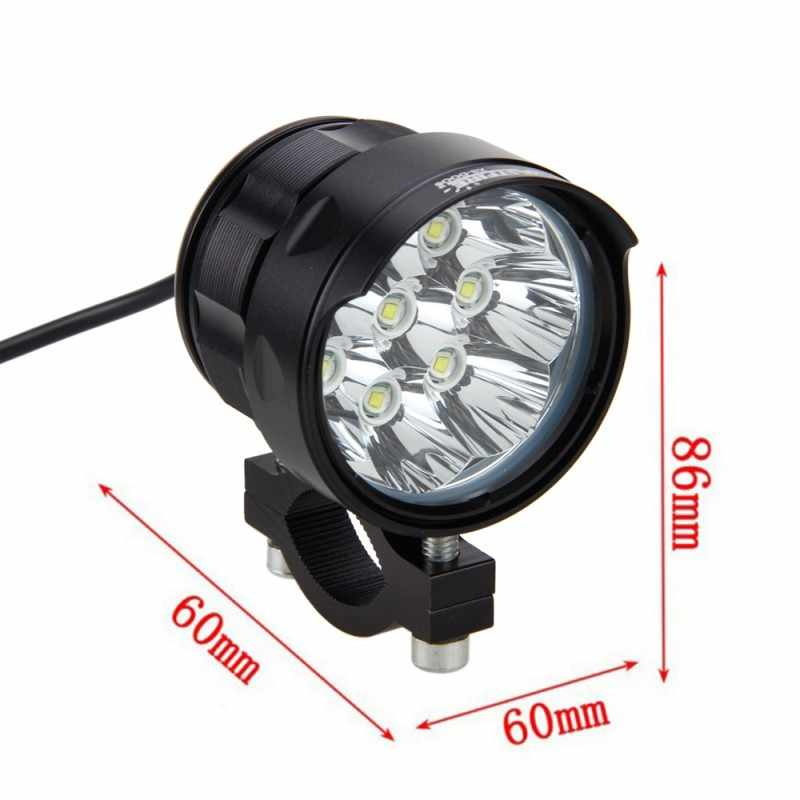 2PCS 4V-84V 80W 6000LM 6500K 8x XM-L T6 LED Motorcycle Boat Spot Driving Headlight Motorbike Fog Head Light Lamp with Switch