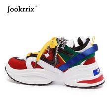fbdcc6350 Jookrrix Branco Sapato Mulheres Marca de Moda Sneakers Alta Top Senhora  chaussure Respirável Outono Feminino Aumentar calçados C..