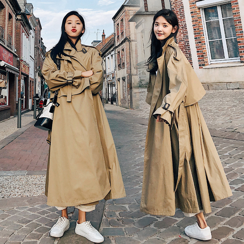 Fashion Vintage 2019 Solid Long   Trench   Coat Women Autumn New Arrival High Quality Loose Ladies Trenchcoats With Belts YT50118