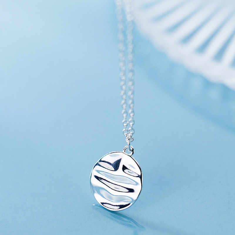 Inzatt Nyata 925 Sterling Silver Minimalis Gelombang Bulat Kalung untuk Wanita Pesta Hophip Baik Perhiasan 2019 Aksesoris Hadiah