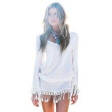 Msl Лето Boho пляжное платье Для женщин длинный рукав кисточкой выдалбливают шифоновое платье Белый Повседневное мини-платье Femme Vestidos