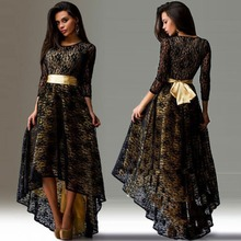 New Sexy Summer Dress For Women Formal Lace Long Dress Short Sleeve Asymmetrical Dresses for party