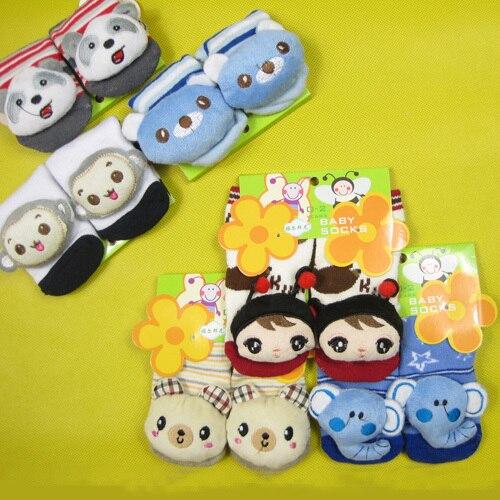 12 пара/лот 2 размера новые стили животных Детские Носки Детская уличная обувь Детские против скольжения Прогулки Носки хлопок носки для малышей 12 конструкции