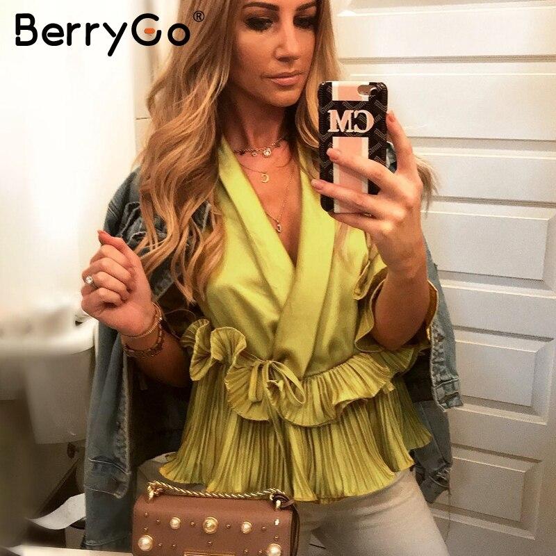 BerryGo Pleated ruffle peplum summer top female Satin loose long sleeve blouse shirt women V neck elegent white blouse 2018
