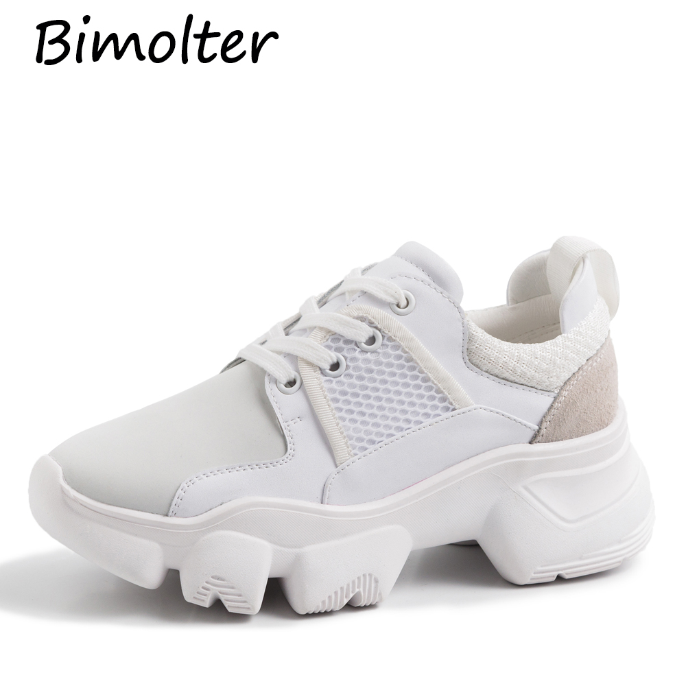 Bimolter Platfrom Sneakers For Women Natural   Leather   +   Suede   Femal Casual Leisure Footwear Flats Shoes Lace-up Round Toe NB110