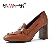 купить ENMAYER Genuine Leather  Square Toe Square Heel  Casual  Slip-On  Women Shoes High Heel  Zapatos Mujer Tacon  Size 34-39 ZYL2549 дешево