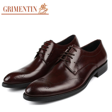 GRIMENTIN fashion Vintage Handmade Mens Dress Shoes Oxford Leather Genuine Black Brown Lace Up Floral Wedding Shoes Men Flats