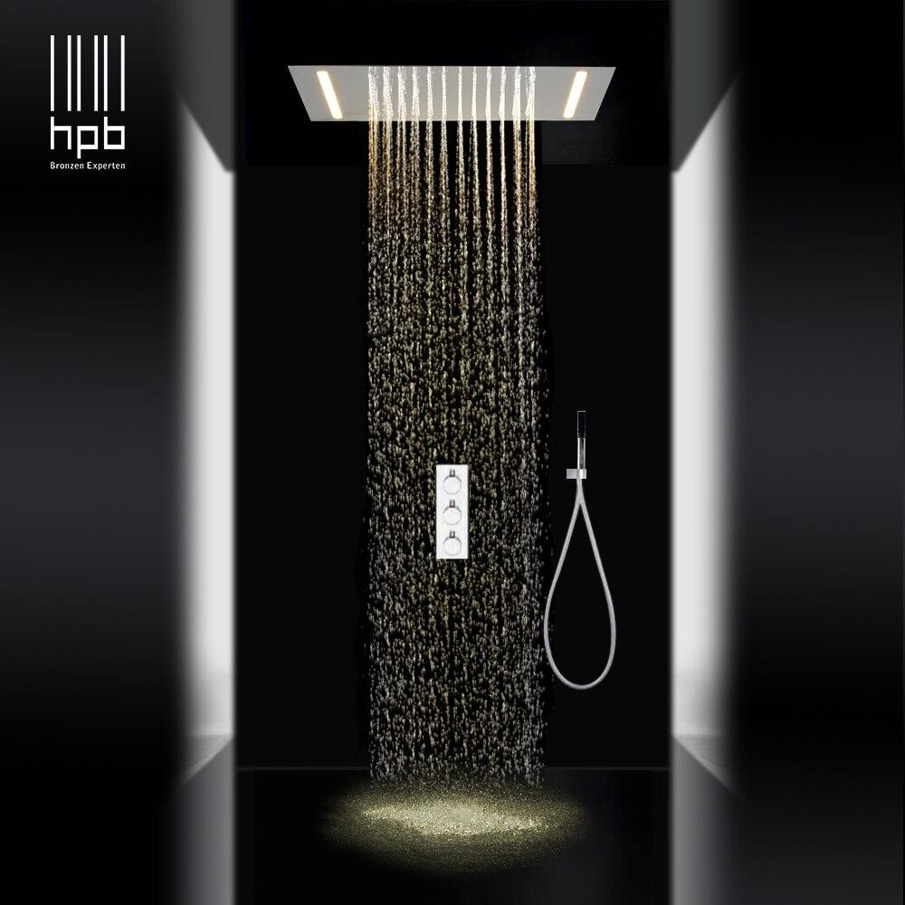 HPB luxo 3 funções sus304 levou conjuntos de chuveiro de chuva teto montado chuveiros de água quente e fria mixer 008P-50X36E-F