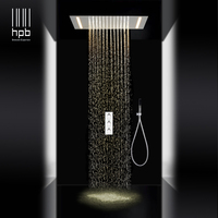 HPB luxury 3 functions sus304 led rainfall shower sets mixer ceiling mounted shower heads hot and cold water 008P 50X36E F