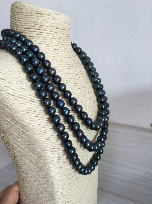 Triple brins 10-11mm ronde de Tahiti noir vert perle collier 17
