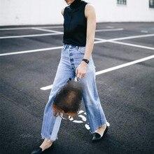 بنطلون جينز كاجوال واسع الساق بتدرج في الألوان