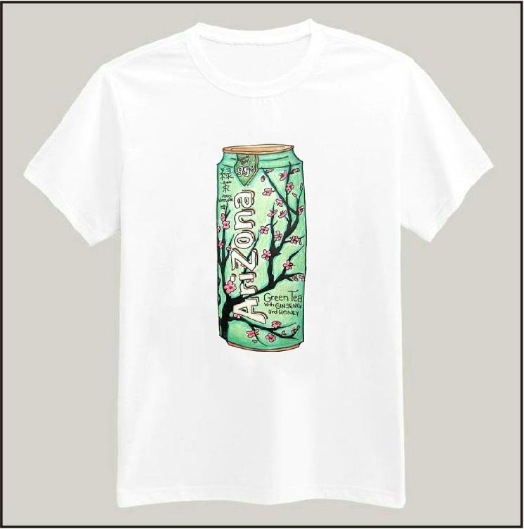 Harajuku arizona green tea print women tshirt latest for Best online tee shirt printing