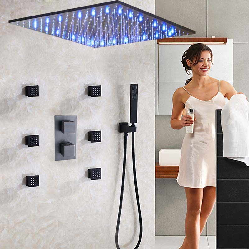 Ceiling Mounted 20 Shower Head Faucets LED Shower Sprayer Massage Jets Thermostatic Valve Mixer Tap Huge Rainfall Shower Head