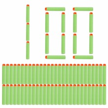 100pcs For7.2cm Nerf Bullets Soft Hollow Hole Head  Refill Darts Toy Gun Bullets for Nerf Series Blasters Xmas kid Gifts green
