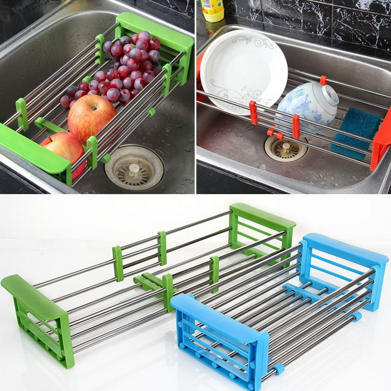Stainless Steel Adjustable Telescopic Kitchen Over Sink Dish Drying Rack Insert Storage Organizer Fruit Vegetable Tray Drainer